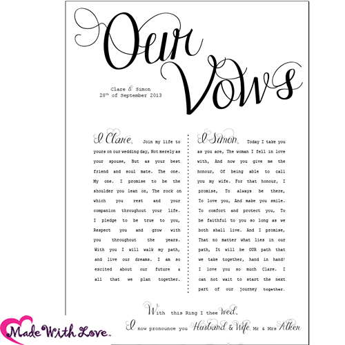 Funny wedding vows make your guests happy cry 16 vows printed wedding vows junglespirit Gallery