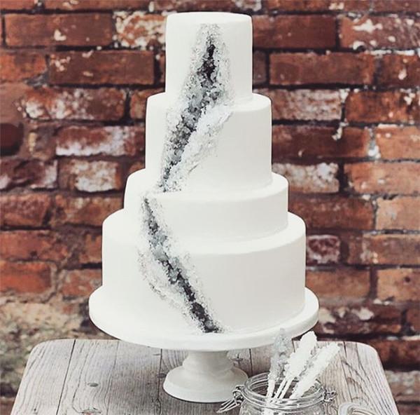 amethyst geode wedding cake trend