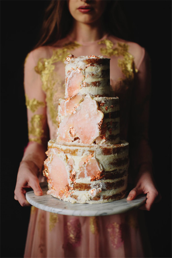 amethyst geode wedding cake trend beautiful