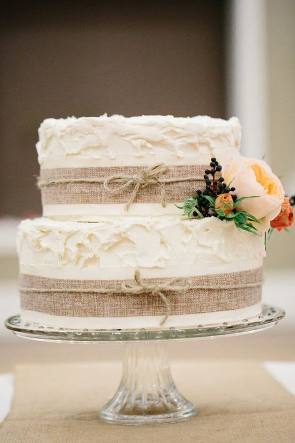 country wedding cake with burlap