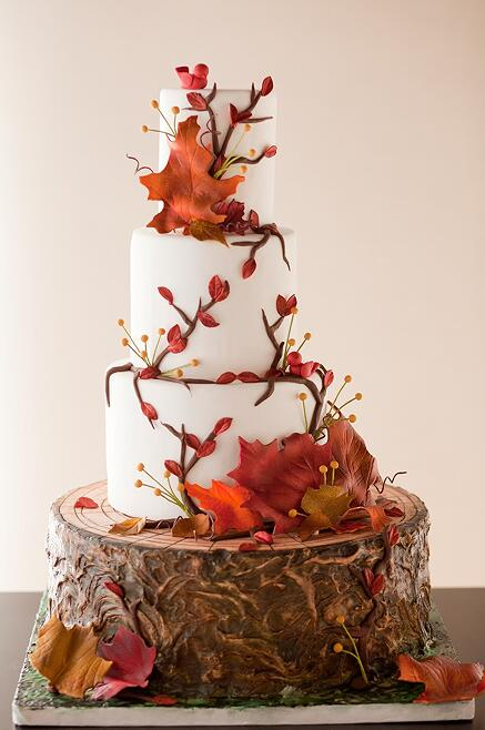 fall tree leaves wedding cakes