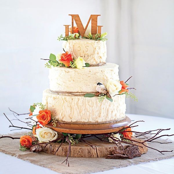 floral fall wedding cakes with rose and love birds
