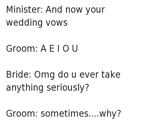 2 Funny Wedding Ceremony Vows