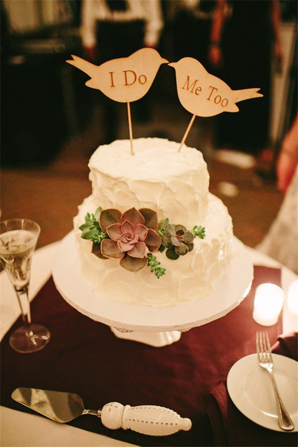 i do me too wedding cake with succulent