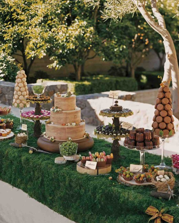 marzipan-covered wedding cakes at their September wedding