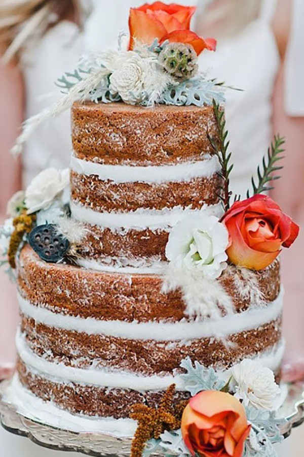naked cake country rustic wedding cakes
