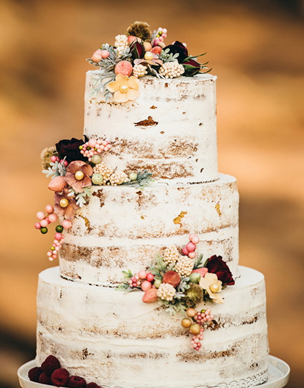 naked rustic country fall wedding cakes WeddingInclude Wedding
