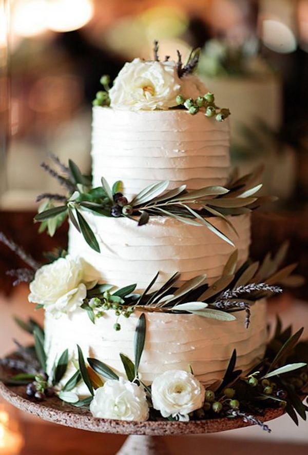rustic white wedding cake for fall wedding