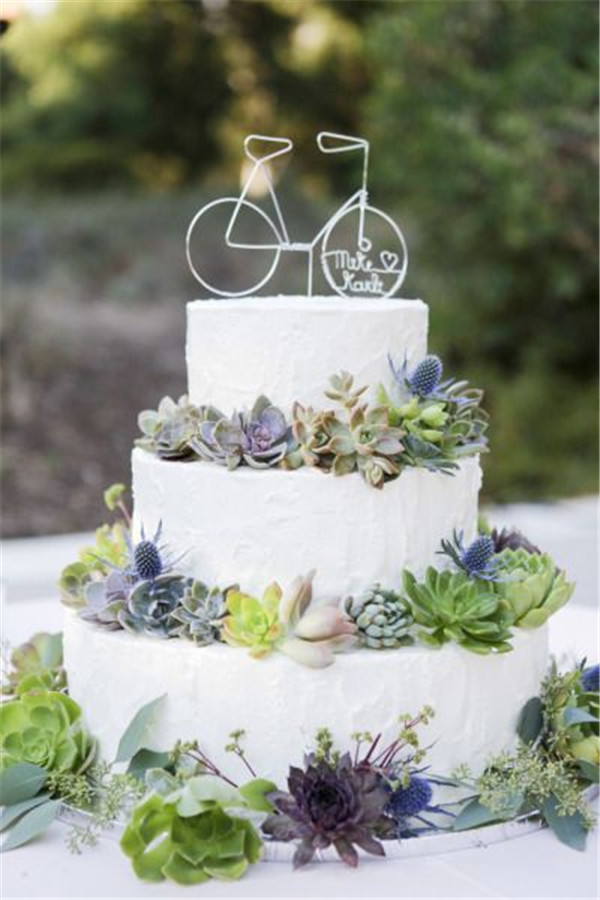succulents wedding cake topped with tiny bike