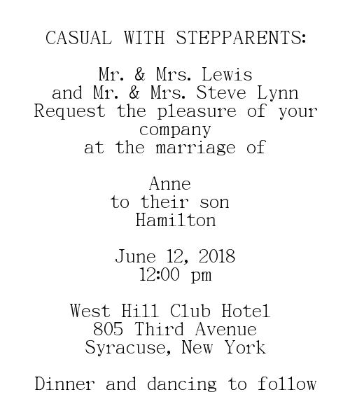 CASUAL WITH STEPPARENTS Wedding Invitations Wording - Groom's Parents Hosting