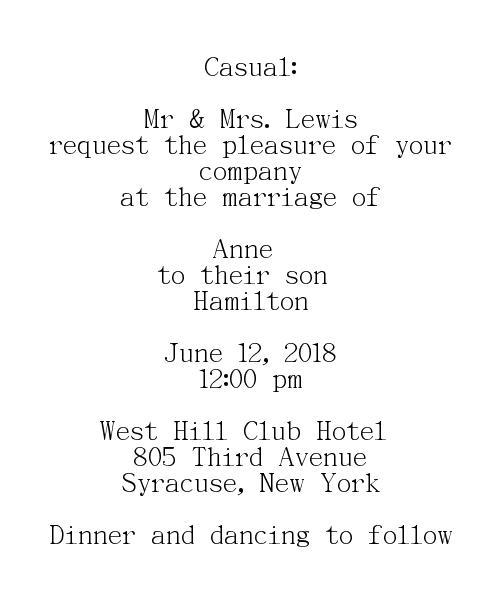 Casual Wedding Invitations Wording Groom's Parents Hosting