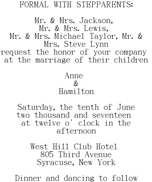 FORMAL Wedding Invitations Wording - Couple's Parents Hosting - WITH STEPPARENTS