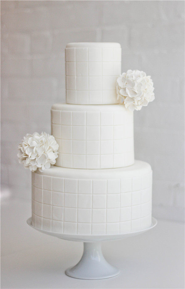 White squares and pomander by Erica OBrien Cake Design