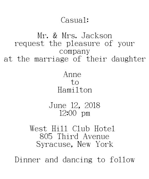 casual wedding invitations wording -Bride's Parents Hostinga
