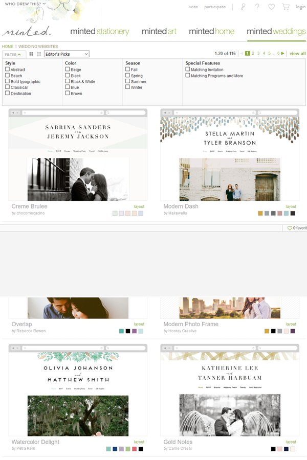 free wedding website - minted