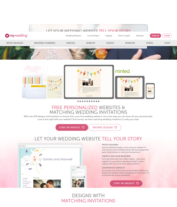 Free Wedding Website   Mywedding