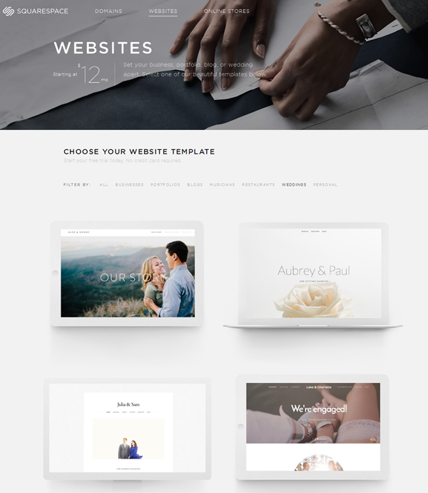 free wedding weibsite - squarespace