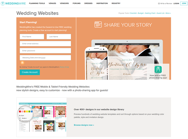 free wedding weibsite - weddingwire