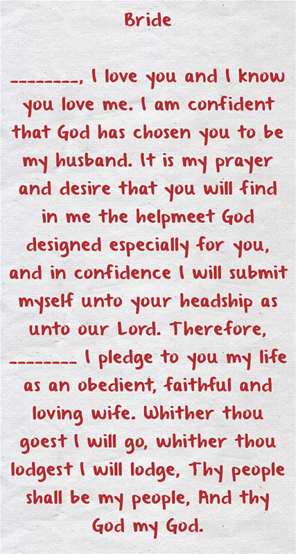 Christian wedding vows examples for groom and bride christian wedding vows bride i love you and i junglespirit Gallery