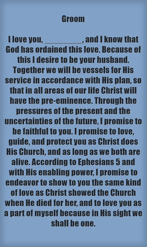 Christian Wedding Vows Groom I love you and I