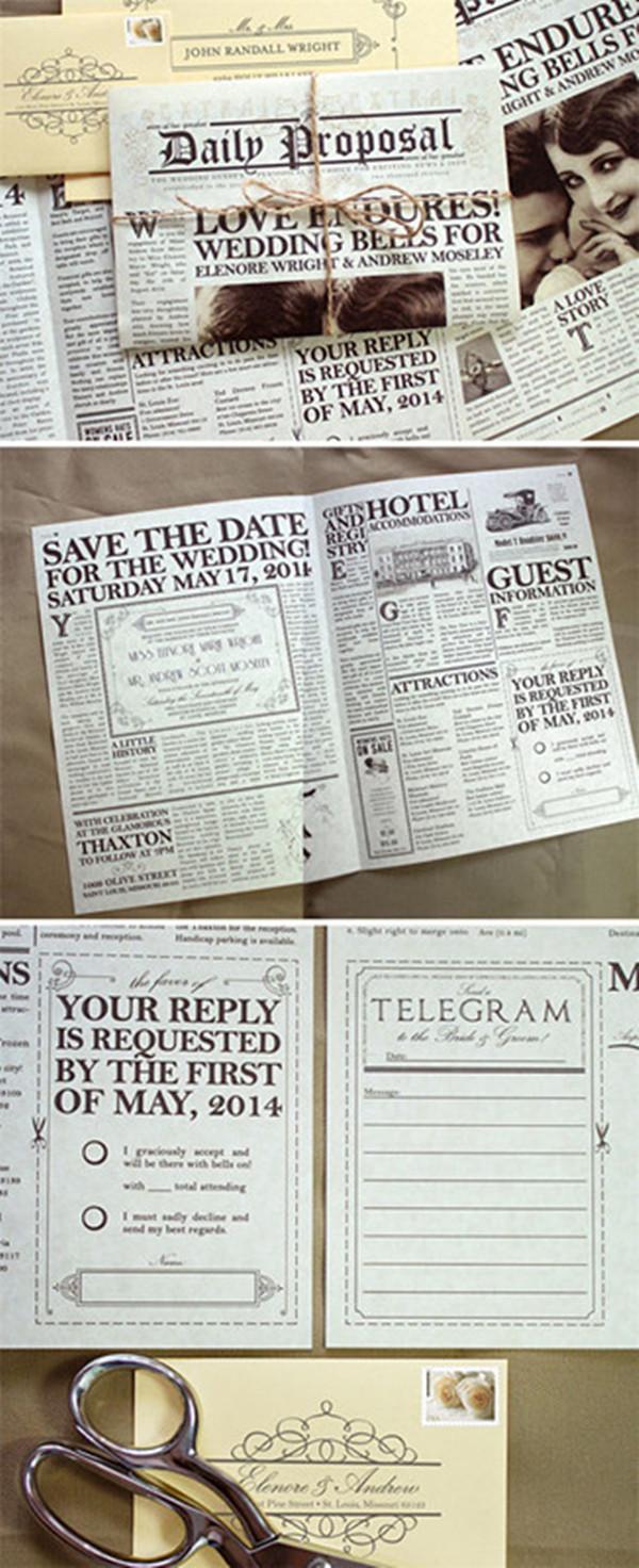 Creative vintage newspaper invitations