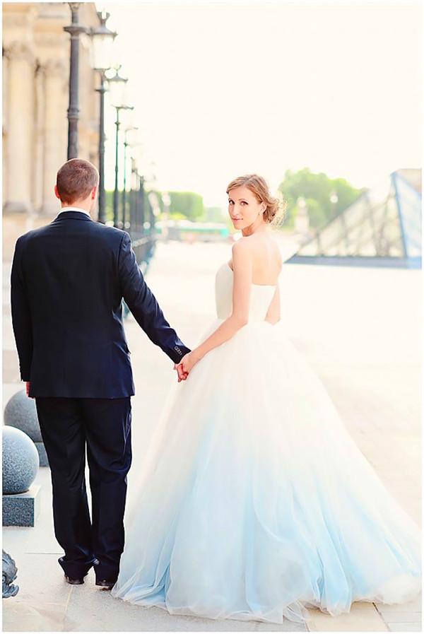 Elegant dip dye wedding dress trend
