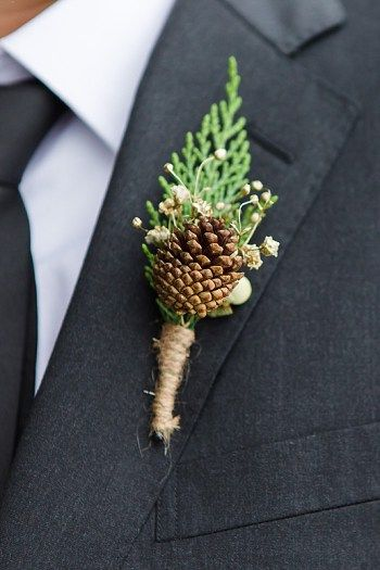 Pinecone Groom boutonniere