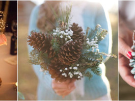 Pinecone centerpiece and bouquet and favors