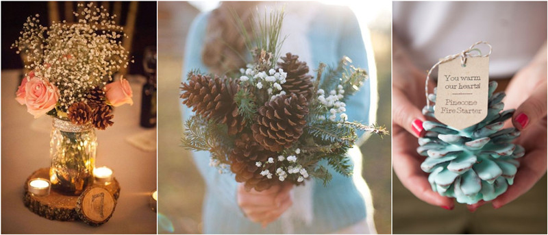 Pinecones wedding ideas for your winter