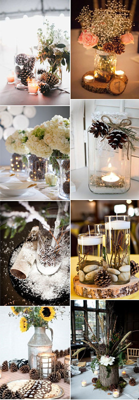 Pinecone wedding centerpieces with mason jars and burlpa perfect for rustic weding