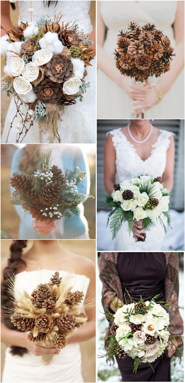 35 pinecones wedding ideas for your winter wedding for Wedding flowers ideas pictures
