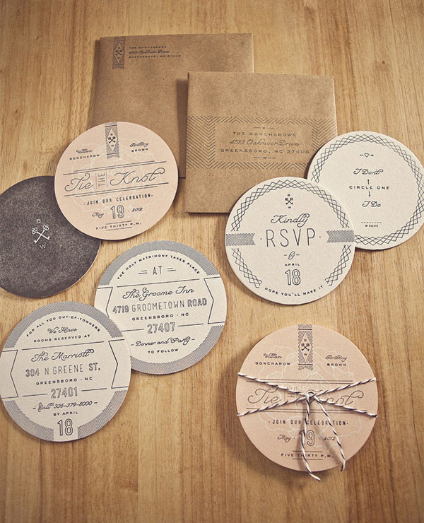 7 Unique Creative Round Wedding Invitations