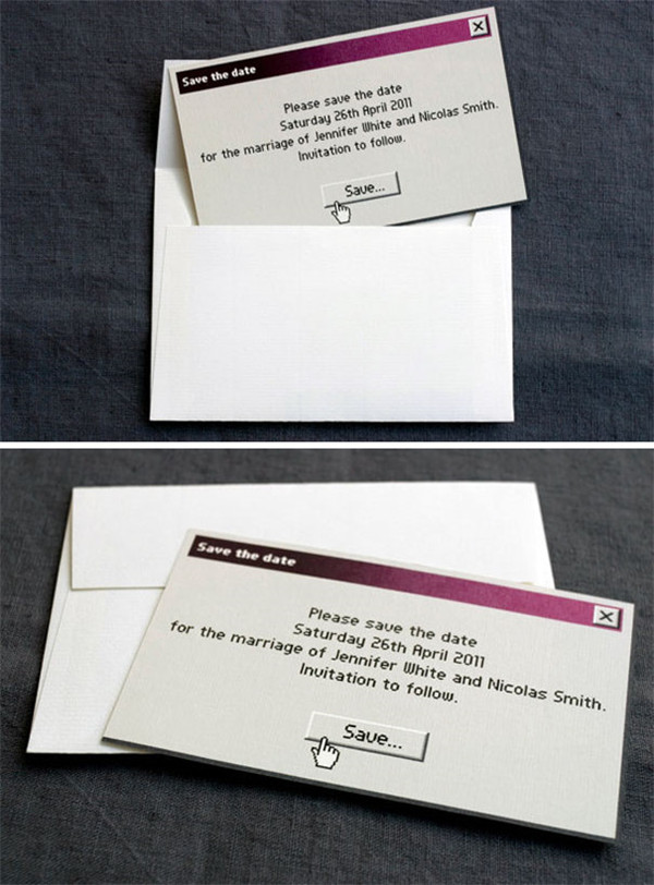 Unique Geeky wedding invitations save the date