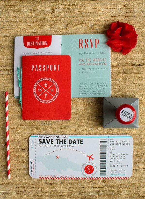 Unique Passport Wedding Invitations