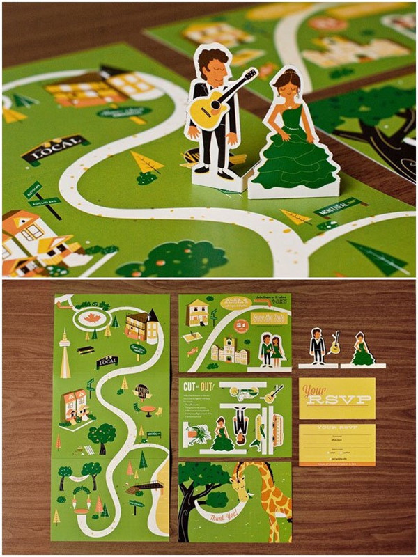 Unique and creative wedding invitations with map theme