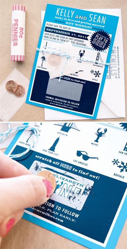Unique blue scratch off save the date wedding location invitation ideas