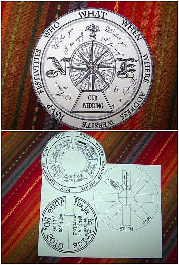 Unique wedding invitations Moving Compass Wedding Wheel This talented bride decided to DIY her wedding invites