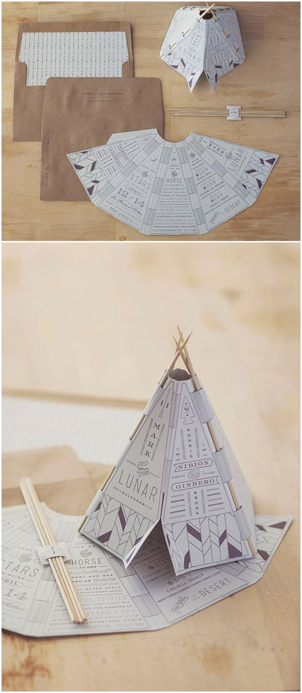 Unique wedding invitations Tents and tribal save the date