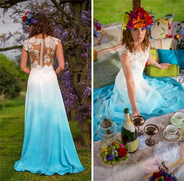 blue dip dye wedding dress trend