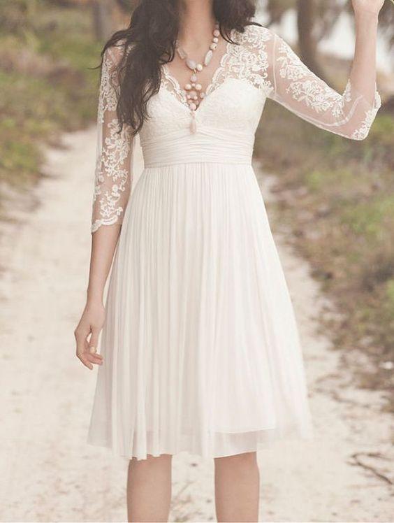Chiffon knee-length beach wedding dresses