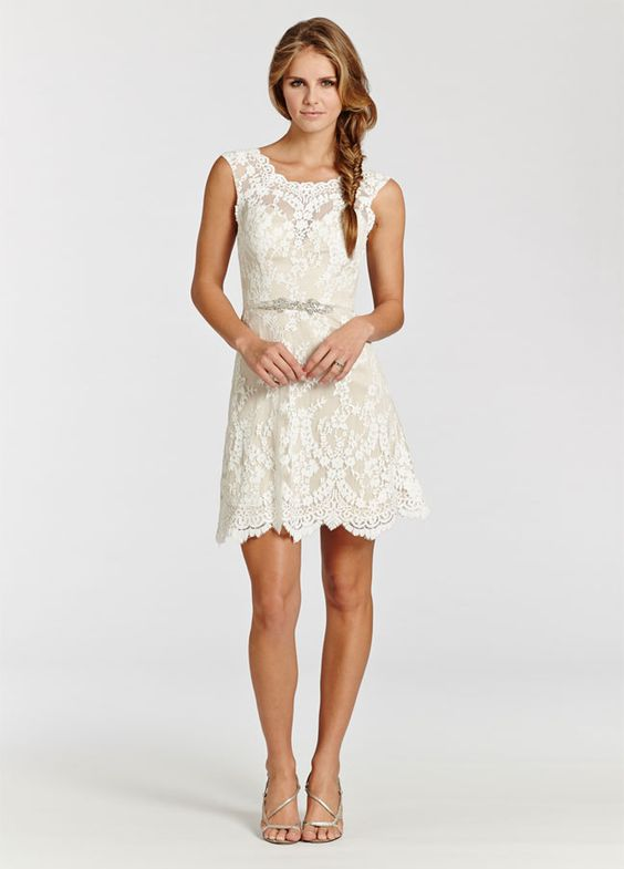 Ivory lace over champagne Charmeuse short dress