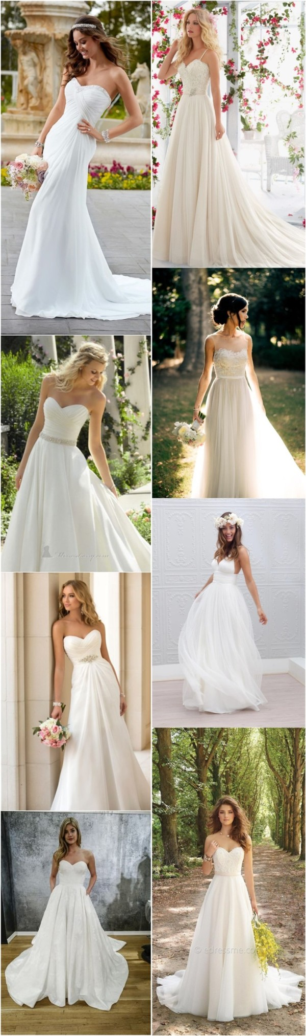 Simple and Elegant white wedding dresses