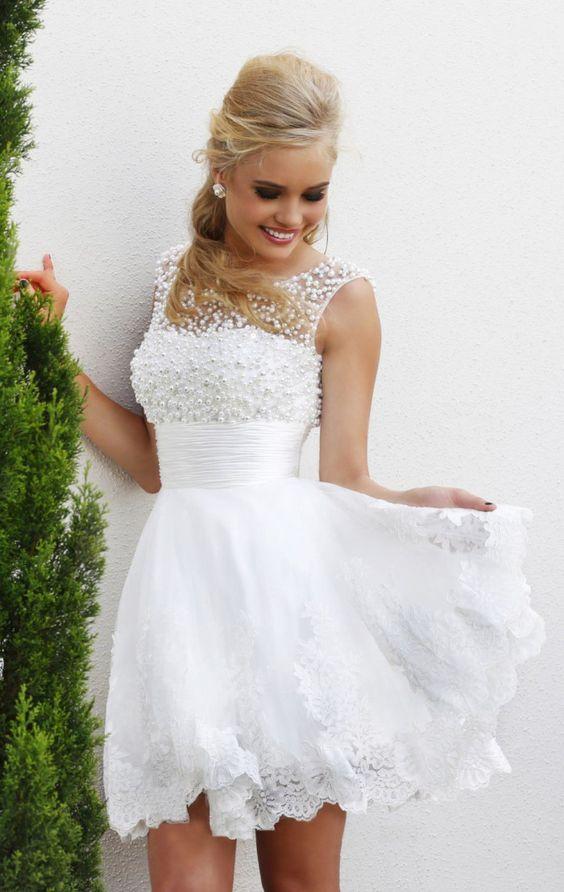 White short wedding dresses the brides sexy lace wedding dress