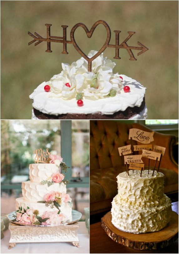 ructic wedding cakes toppers