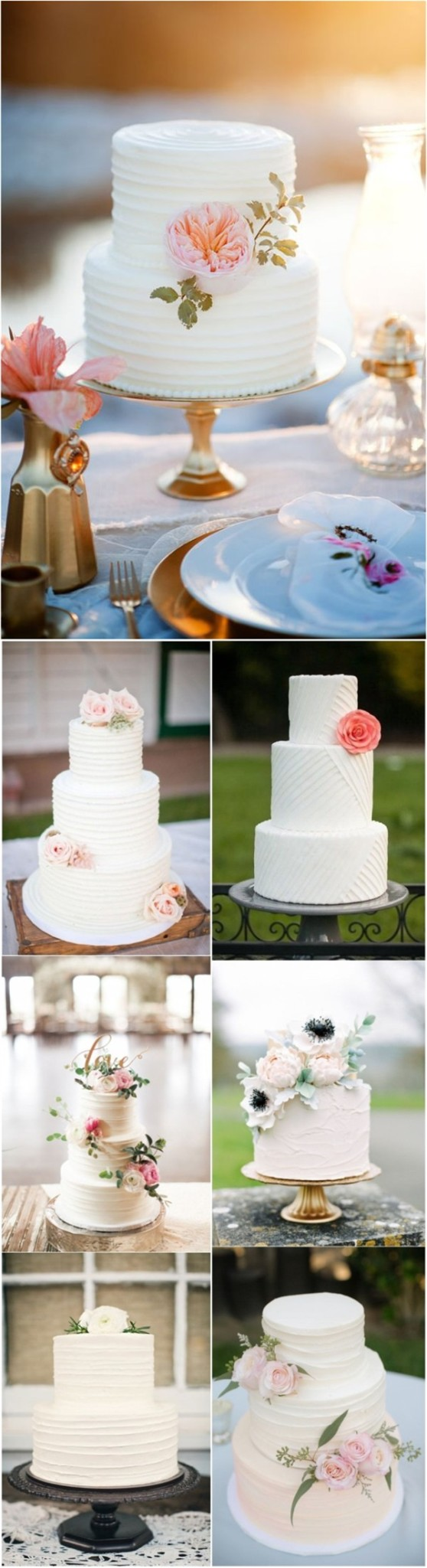 simple white wedding cakes with flowers inspirations