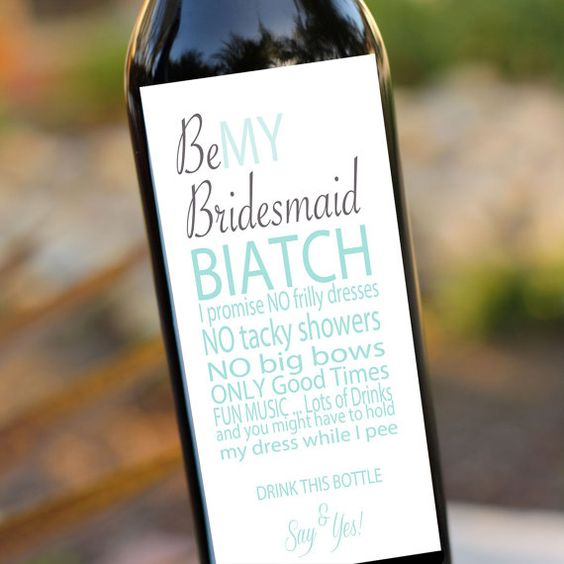Bridesmaids Gifts Will you be my bridesmaid Wedding Wine Labels