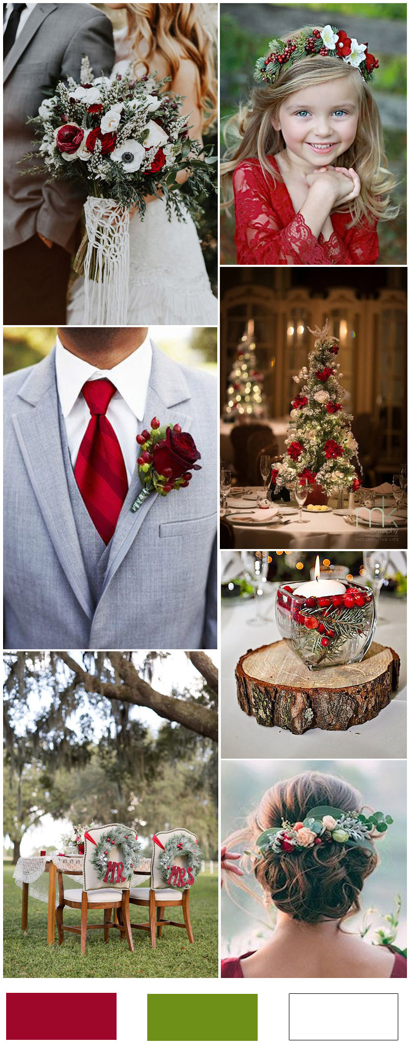 16 christmas wedding ideas you can t miss for Red decoration for wedding