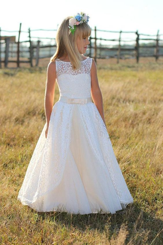 Lace Pageant Dresses Flower Girl With Sash