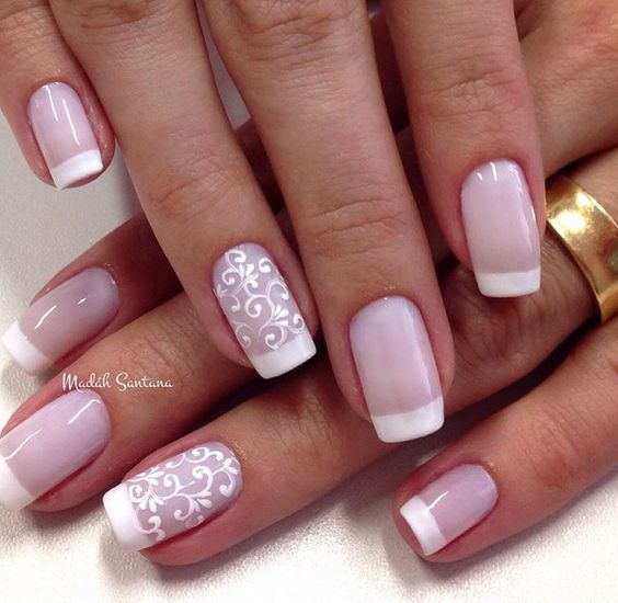 Lace designed white French wedding nail ideas