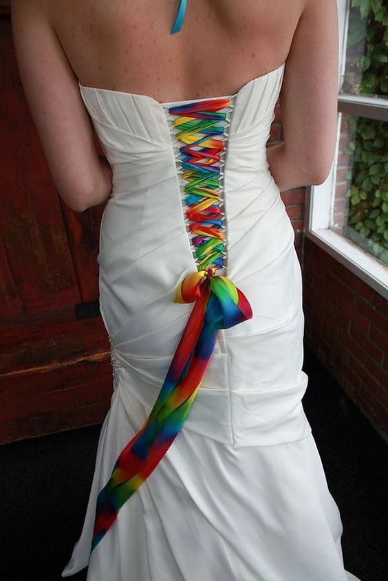 Lace up your white wedding gown with rainbow colors